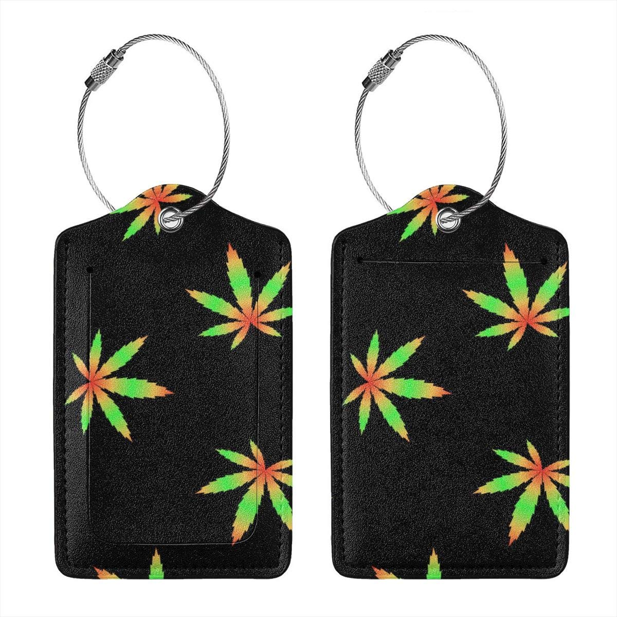 Marijuana Flag Colour Hill Leather Luggage Tags Personalized Address Card With Privacy Flap