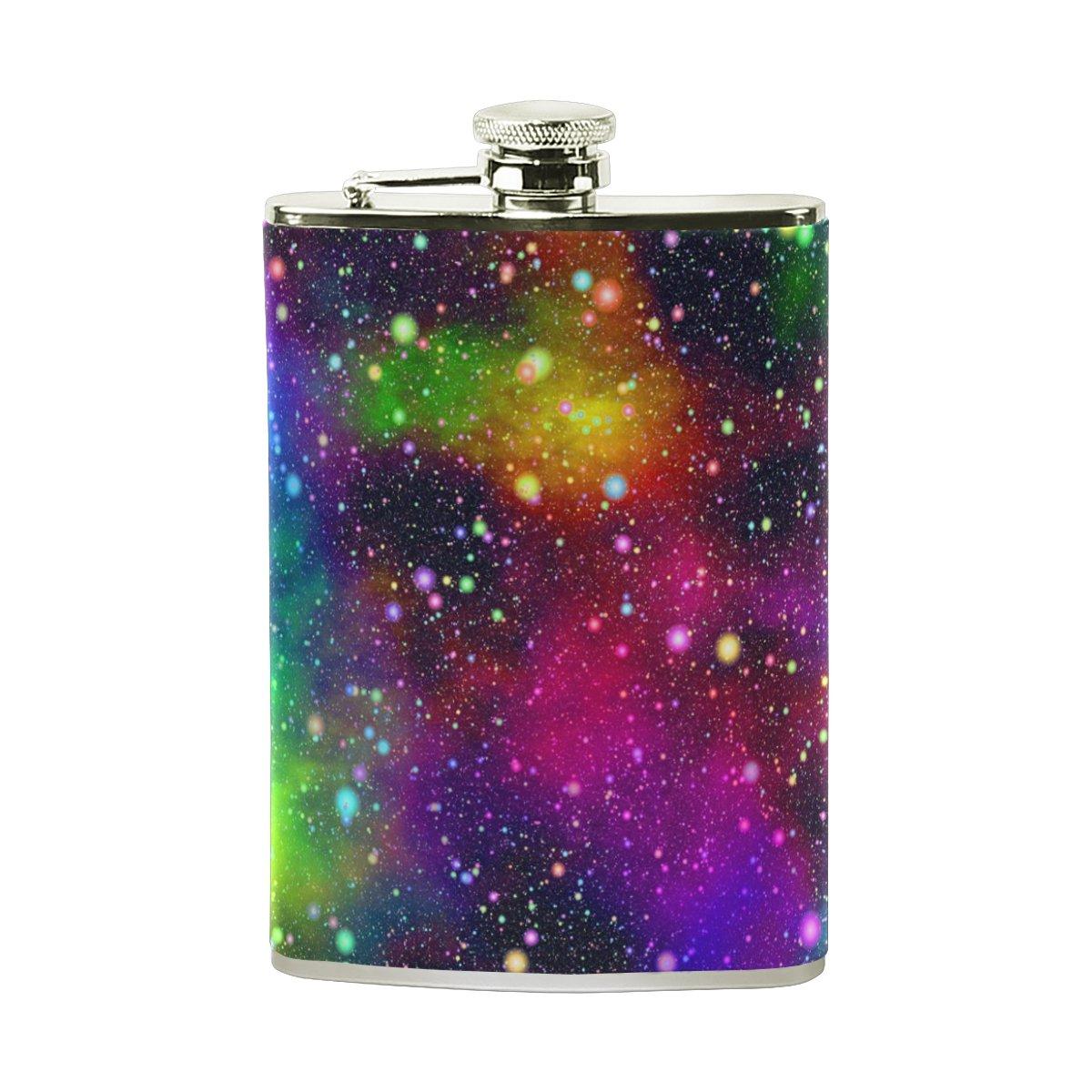 ステンレススチールフラスコ18/8 with Leather Men WrappedカバーUniverse Nebula Starry銀河ポケットヒップフラスコ8 ozギフトfor Men Leather with B07FHXWZHG, ヤストミチョウ:99d40dff --- ijpba.info