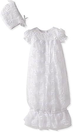 Bonnet SET size 2 NEW Baby Girl Christening Ruffle Cotton Romper in White