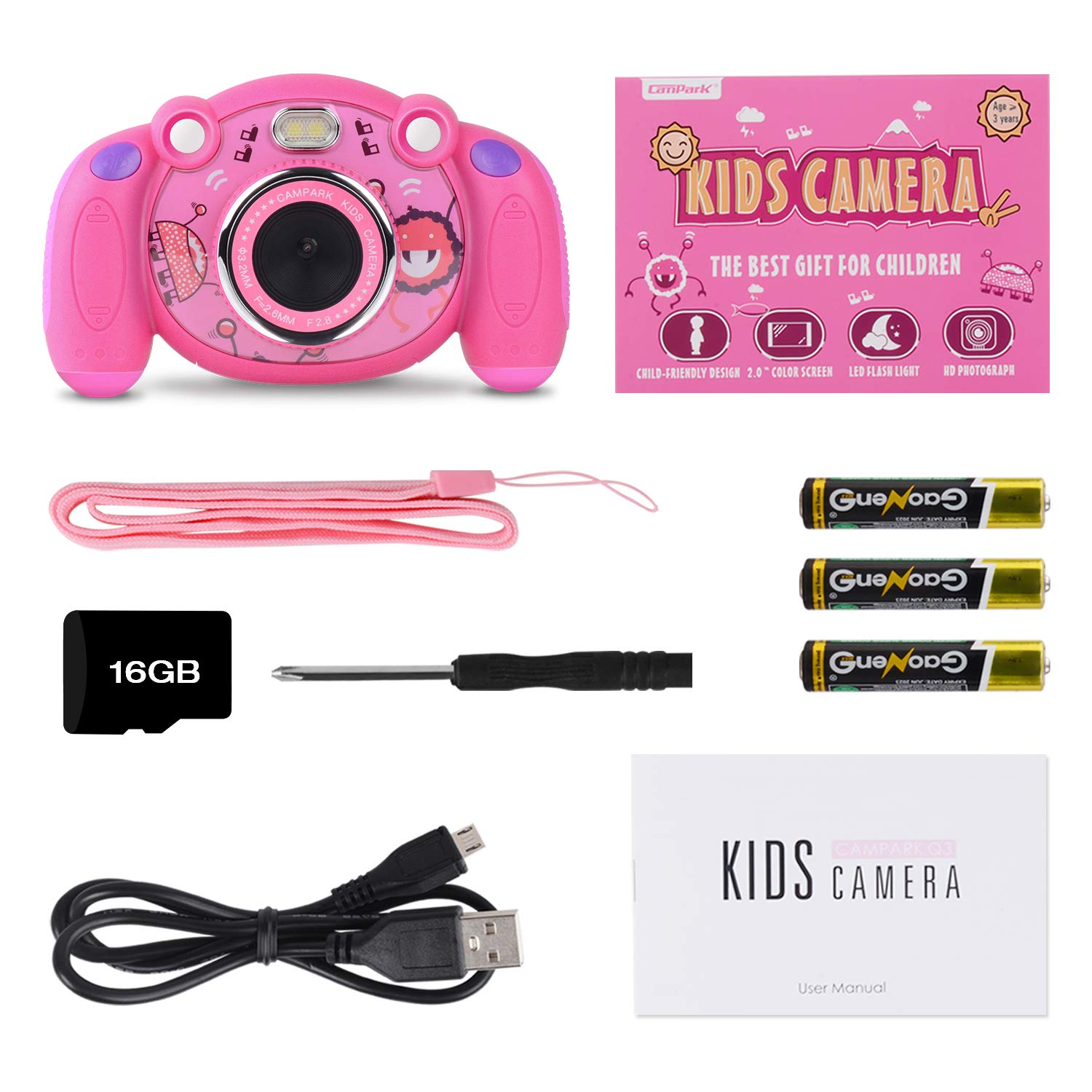 Campark Kids Camera, Mini Child Camcorder with HD LCD Display 16GB Memory Card for Girls Pink Great Birthday Gift by Campark (Image #7)
