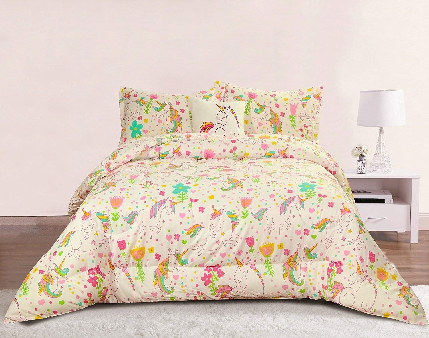 girls bedding Amazon.com: Unicorn Girls Bedding Full-Queen 4 Piece Comforter Bed Set,  Pastel Heart Floral Polka Dot: Home u0026 Kitchen