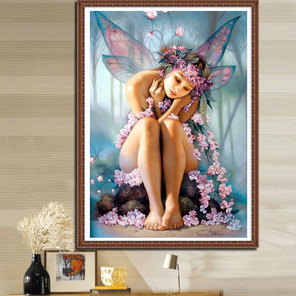 5D Diamond Painting Kit Butterfly Fairy DIY Full Drill Embroidery Picture Art for Home Wall Decor 15.8 x 21.7inches