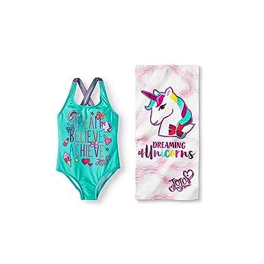2d685571f2 JoJo Siwa Dream Believe Achieve Girls One-Piece Swimsuit and Unicorn Beach  Towel Bundle Set