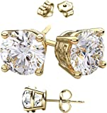 14 Karat Gold Overlay on 925 Sterling Silver Earrings. Top Quality Cubic Zirconia Round Stones