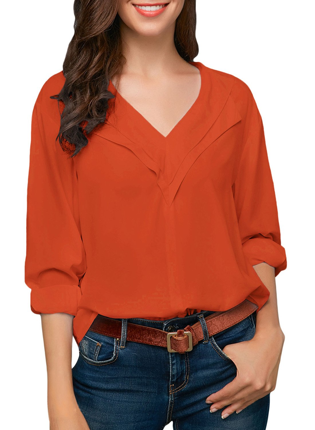 Sidefeel Women 3 4 Sleeve Roll Sleeve V Neck Chiffion Blouse Tops X-Large Orange