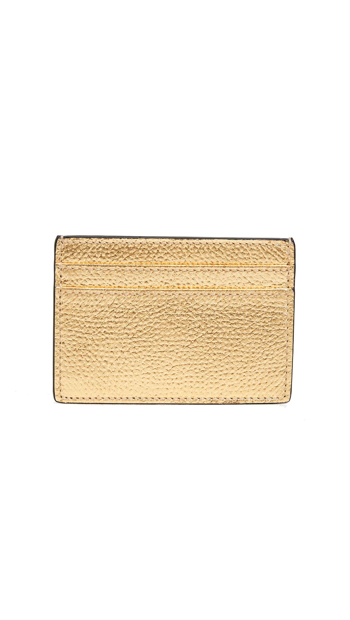 Smythson Women's Metallic Leather Flat Card Holder, Gold/Platinum, One Size