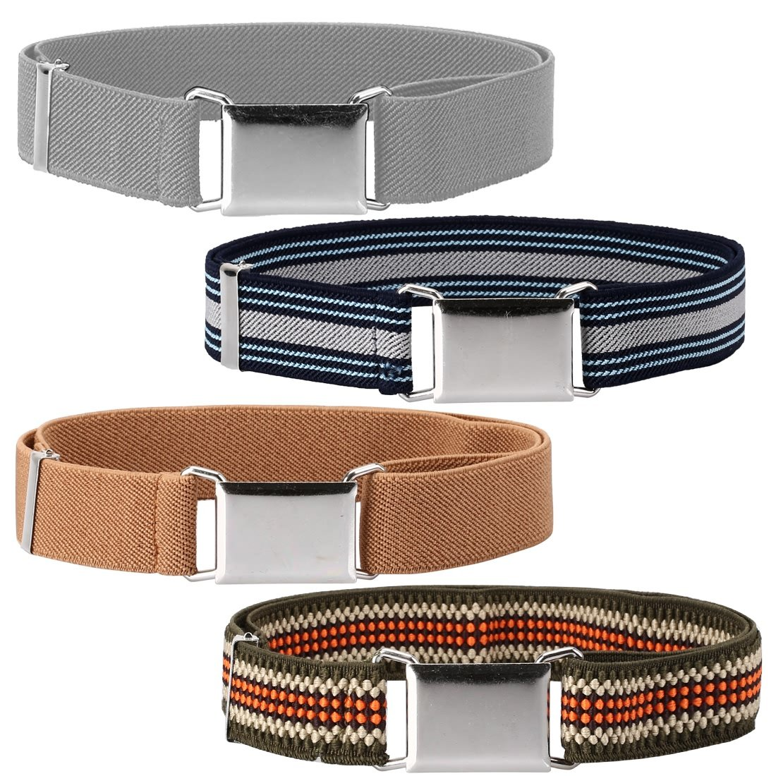 Ava & Kings 4 Pack Childrens Mixed Design 1 Inch Adjustable Elastic Easy Belts - Buckle Clasp w/Comfortable, Stretchy Waistband for Kids Toddlers Baby - Various Sets for Little Boys & Girls Comfortable Bundle Monster