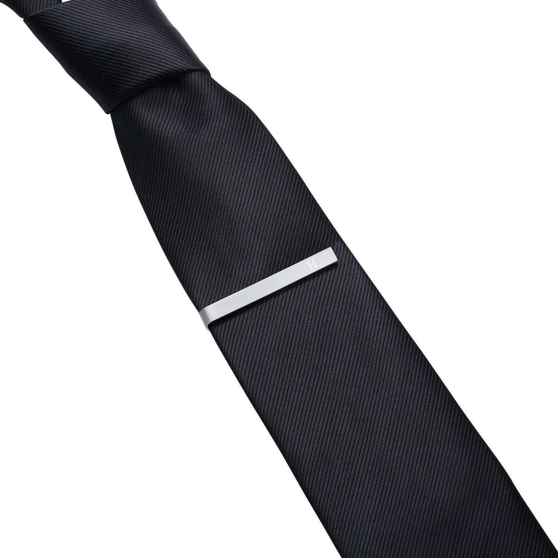HONEY BEAR Homme Initiale Lettre Alphabet Pinces /à Cravate,Taille Normale Acier Inoxydable pour Le Cadeau de Mariage daffaires,5.4cm,Argent bross/é