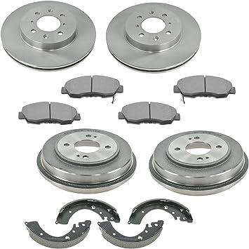 Front /& Rear Posi Metallic Disc Brake Pads Rotors Shoes /& Drum Kit Set for Civic