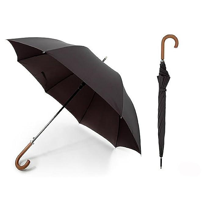 Paraguas automatico para caminar negro liso con mango de madera unisex (Tejido Tafetán premium)