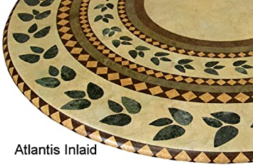 Mosaic Table Cloth Round 36u0026quot; To 48u0026quot; Elastic Edge Fitted Vinyl  Table Cover Inlaid