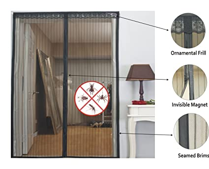 Flyngo Magic Mesh Magnetic Screen Door Hands Free Magnetic Screen/Magic  Mesh Mosquito Net