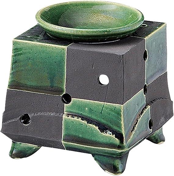 山下工芸 常滑焼 佳窯織部黒市松茶香炉 11.5×11.5×11.5cm 13045770