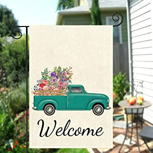 MERCHR Valentin's Day Garden Flag 12x18, Teal Truck with Tulips Flower Holiday Yard Decorations Double Sided Burlap Outdoor Decor,