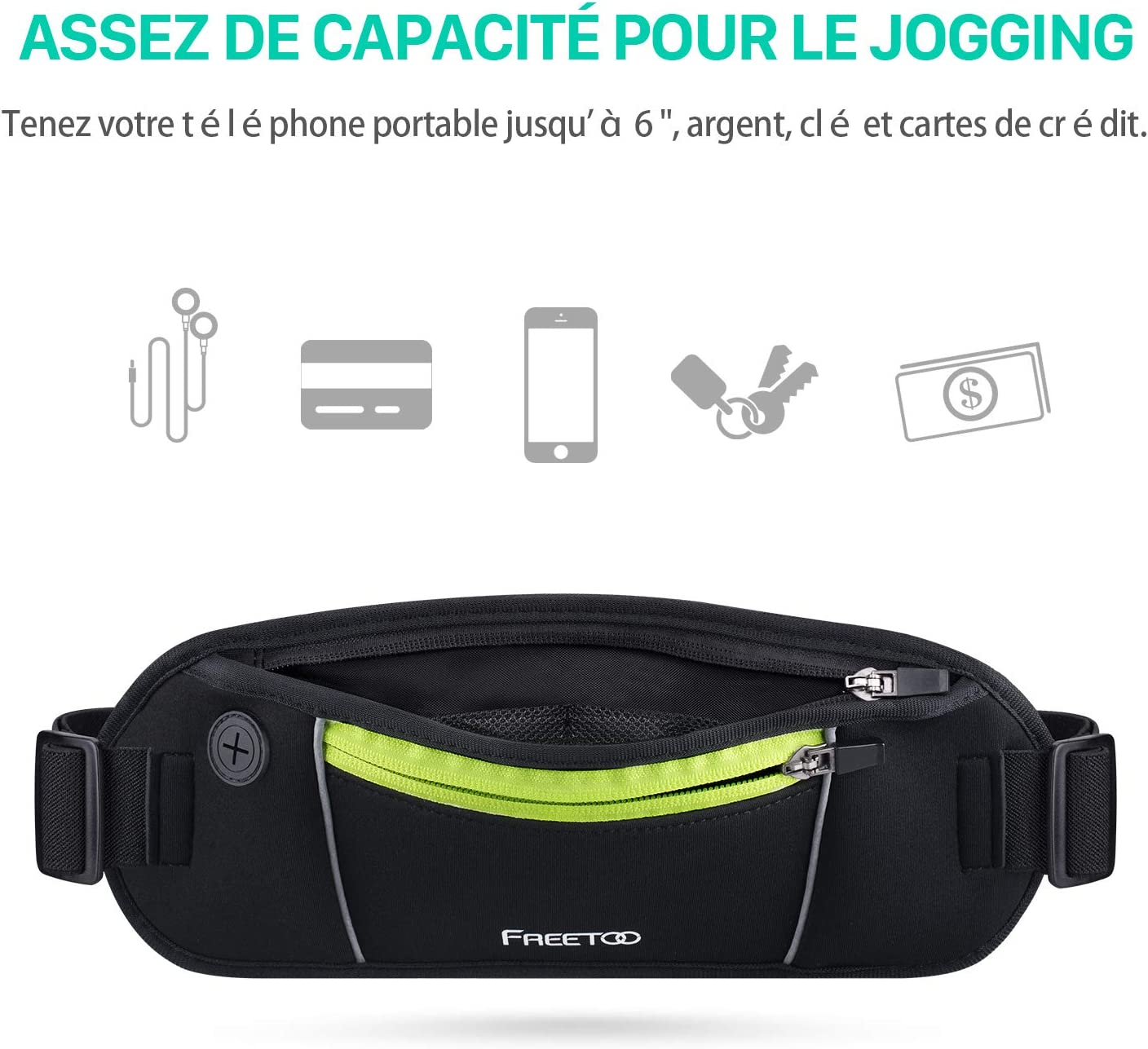 Voyage- Noir et Fluo Hiking Dog Walking Black Parsion Running Belt//Sac Ceinture Banane Etanche- Portable iPhone 7,GalaxyS5 S6 Note 4//5- Escalade Randonn/ée Jogging