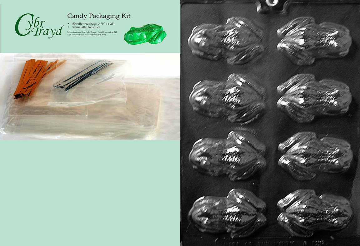 Cybrtrayd MdK50-A126 Frog Animal Chocolate Candy Mold with Packaging Kit