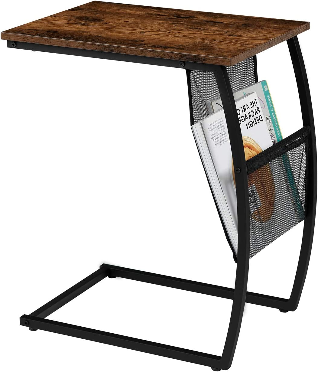 EKNITEY C Shaped Side End Table, Rustic Sofa Table Vintage Couch Table w/Side Pocket for Living Room Coffee Snack Laptop
