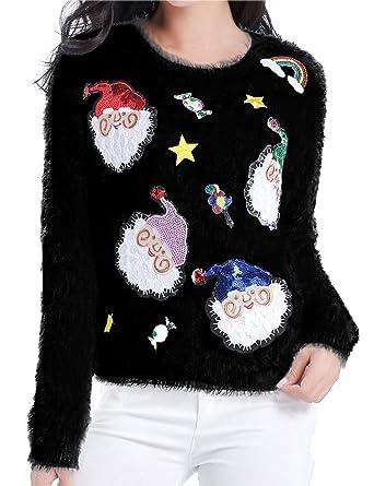 v28 ugly christmas sweater women ladies girl xmas shining santa penguin jumper x - Cute Ugly Christmas Sweater