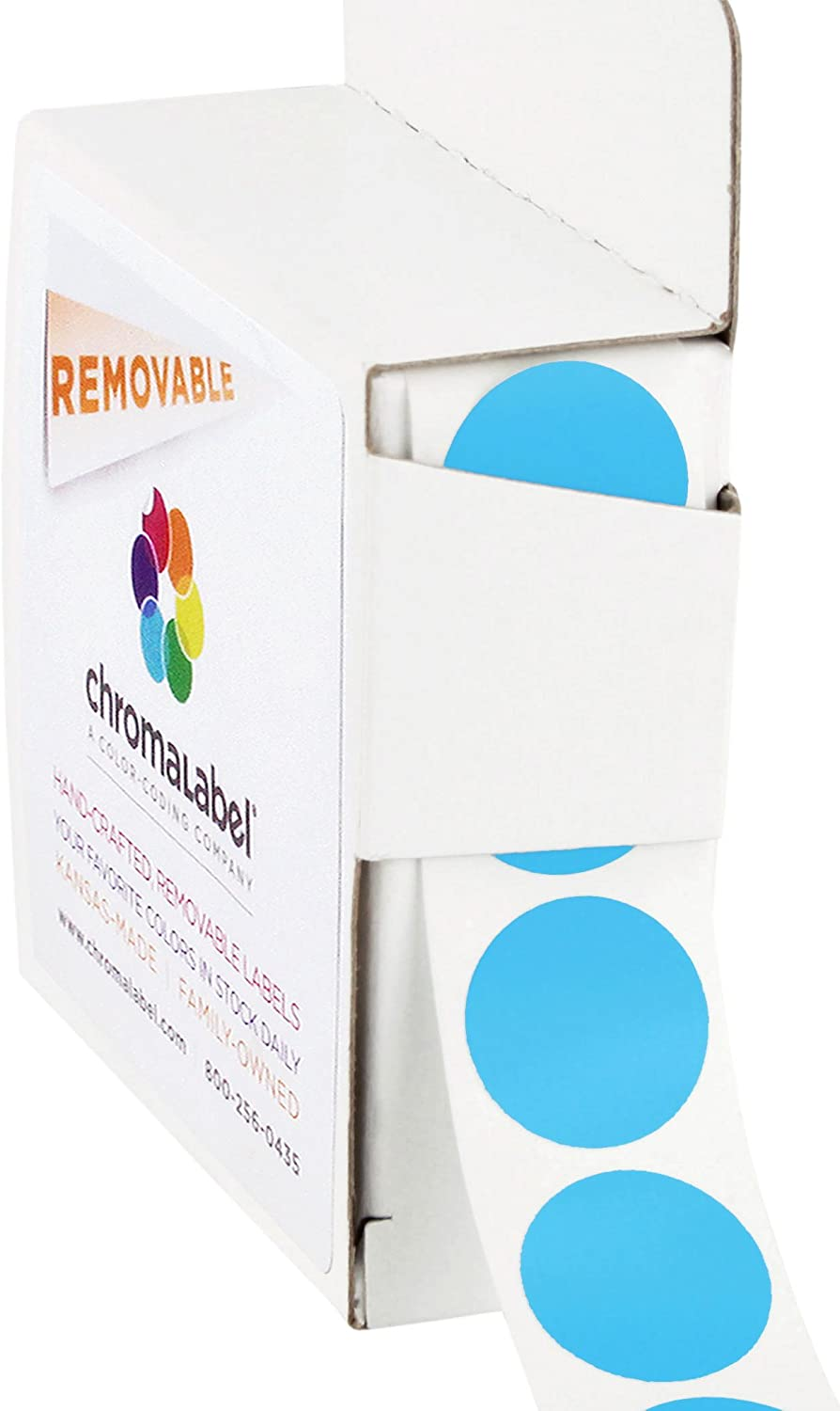 ChromaLabel 3/4 Inch Round Removable Color-Code Dot Stickers, 1000 per Dispenser Box, Light Blue