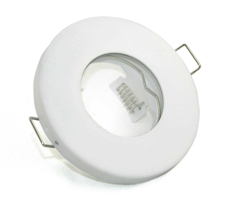 incluye l/ámpara empotrable para ba/ño redondo GU10/y MR16/Capacidad Cuarto de ba/ño Foco IP65 sin bombilla color blanco mate Adecuado para LED y hal/ógena Bombilla con 49/mm de di/ámetro de 51/mm