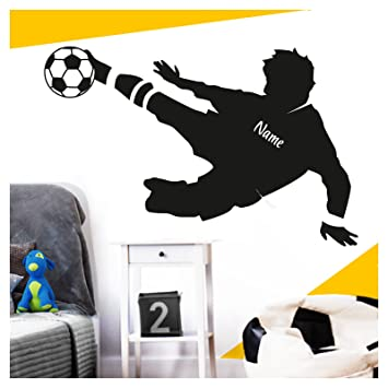 Wandora Wandtattoo Fussballspieler Wunschname I Schwarz Bxh 91 X 58 Cm I Ball Fussball Sticker Aufkleber Kinderzimmer Junge Wandsticker