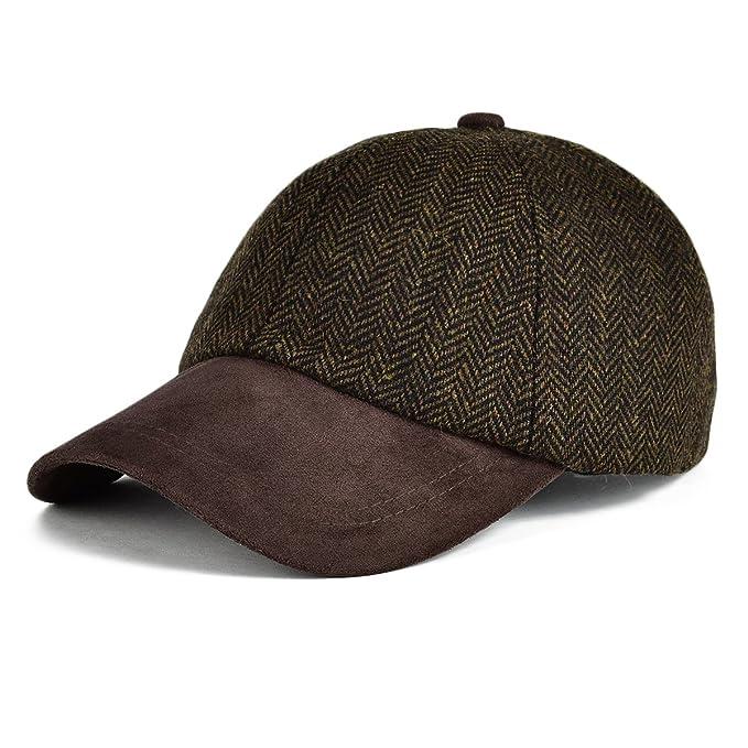 e3dd33c40a1 VOBOOM Men s Wool Blend Baseball Cap Herringbone Tweed Ball Cap Check  Woolen Adjustable Peaked Cap (