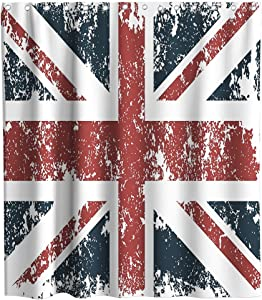 Union Jack Shower Curtain Classic Traditional Flag United Kingdom Modern British Loyalty Theme Cloth Fabric Bathroom Decor Sets with Hooks Waterproof Washable 72 x 72 inches Red Navy and White