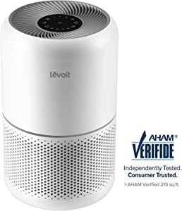 Levoit Air Purifier for Home Allergies and Pets Hair Smokers in Bedroom, True HEPA Filter, 24db Filtration System Cleaner Odor Eliminators, Remove 99.97 Percent Fine Particles, Core 300 (Renewed)