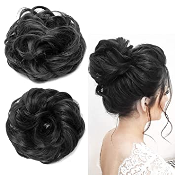 Confidence Set Of 2 Artificial Women Hair Juda Bun Extension Easy To Use 25 Grams Black Pack Of 1