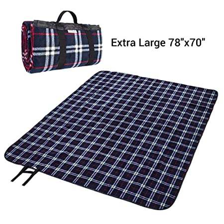 MelodySusie Outdoor Picnic Blanket Machine Washable, Extra Large 78 x70 Soft Plush Fleece Waterproof Picnic Mat Ground Cover – Multipurpose Outdoor Indoor Blanket for Camping, Hiking, Festival, Park