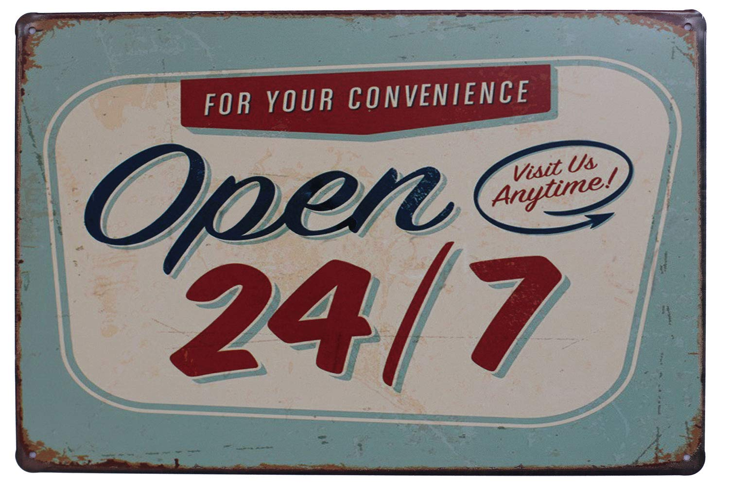 UOOPAI Open 24/7 Funny Tin Sign Bar Pub Garage Diner Cafe Plaque Wall Decor Home Decor Art Poster Retro Vintage