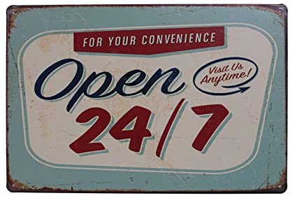 Amazon Open 24 7 Funny Tin Sign Bar Pub Garage Diner Cafe Home