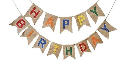 amazon com rustic happy birthday burlap pennant banner kitchen