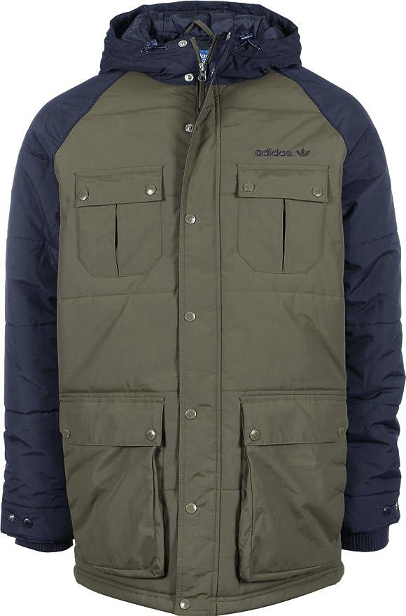Fabricación evaluar infinito  Amazon.com: adidas Originals Padded Parka Coats Men Marine/Kaki - XS -  Parkas Outerwear: Clothing