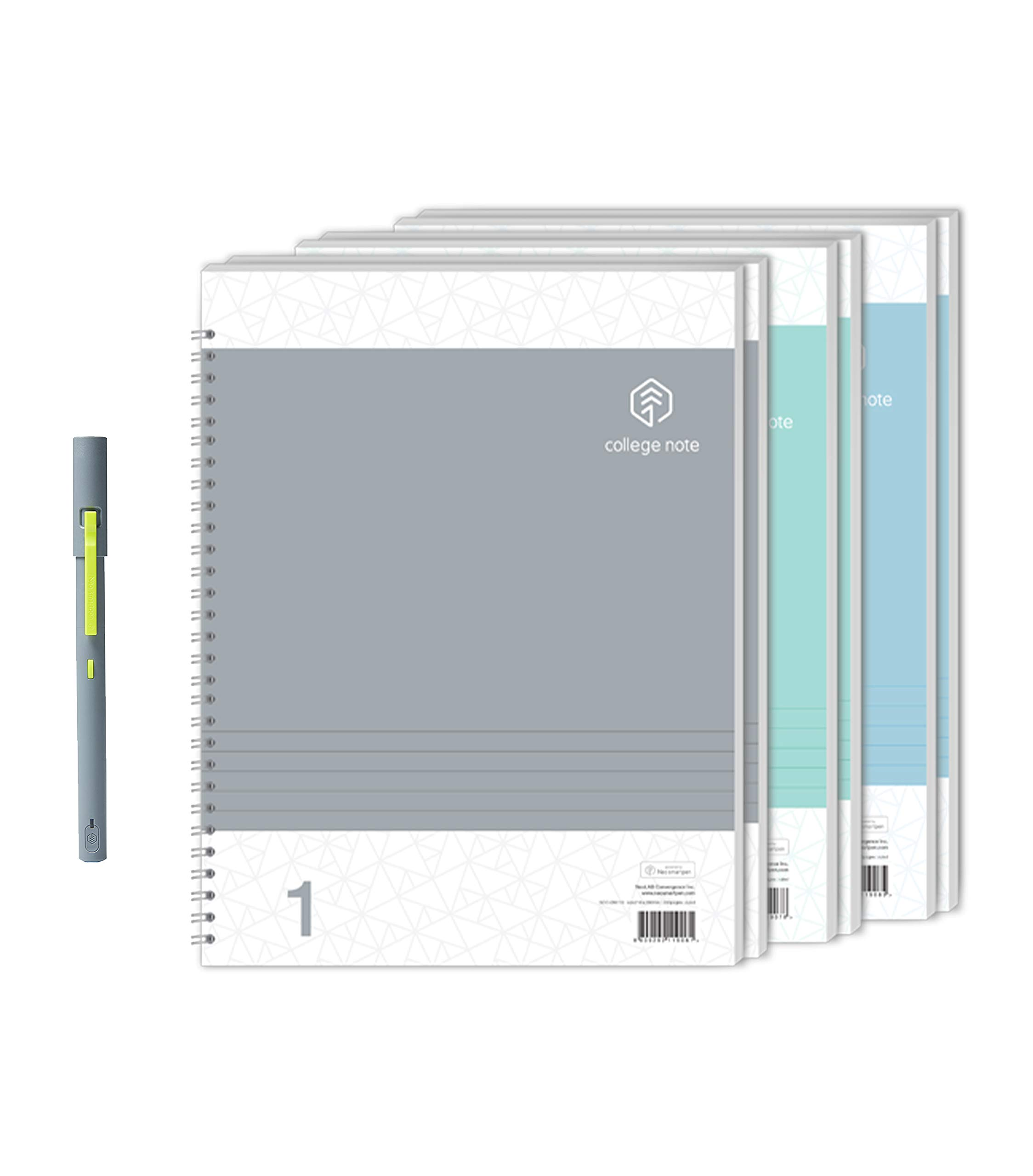 Neo Smartpen M1 (Grey) with N College Notebooks (3 Pack - 200 College Ruled Pages) Bundle for iOS, Android, Smartphones, Tablets, and Windows