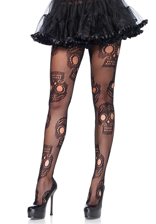 Leg Avenue Women's Plus Size Sugar Skull Net Pantyhose 9982X08001
