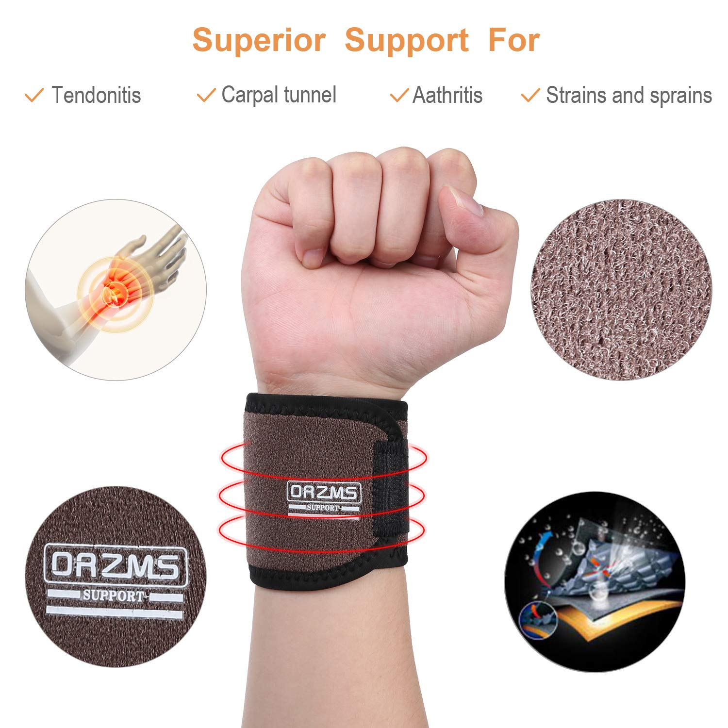 Comfortable Soft Wrist Support Brace 2Pack of Wrist Support//Wrist Straps//Wraps Support//Hand Support//Carpal Tunnel Wrist Braces for Arthritis and Tendinitis,Fit for Left,Right Hand,Men,Women Black