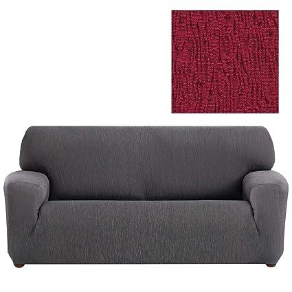 Jarrous Funda de Sofá Elástica Modelo Arucas, Color Rojo-5, Medida 2 Plazas – 130-180cm
