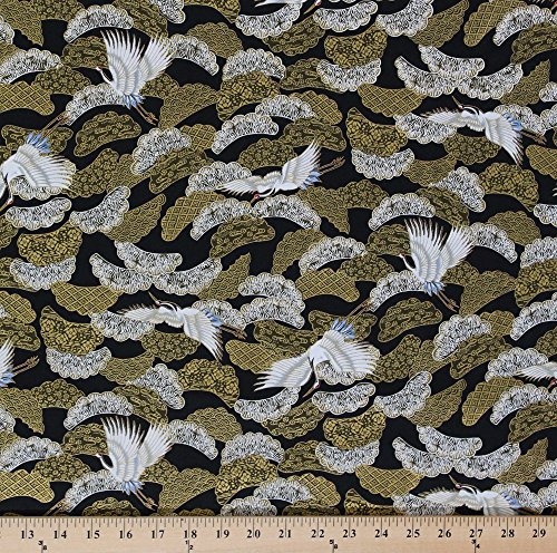 Fabric Japanese Print - Cotton Akahana Japanese Red Crowned Crane Cranes Birds Bird Clouds Gold Black White Cotton Fabric Print by The Yard (25823)