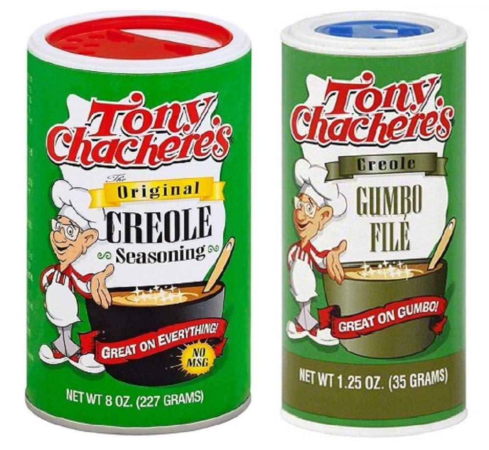 Tony Chachere's No MSG Cajun Creole Seasoning Bundle - 1 each of Tony's Original Creole Seasoning 8 Ounces and Gumbo File 1.25 Ounces