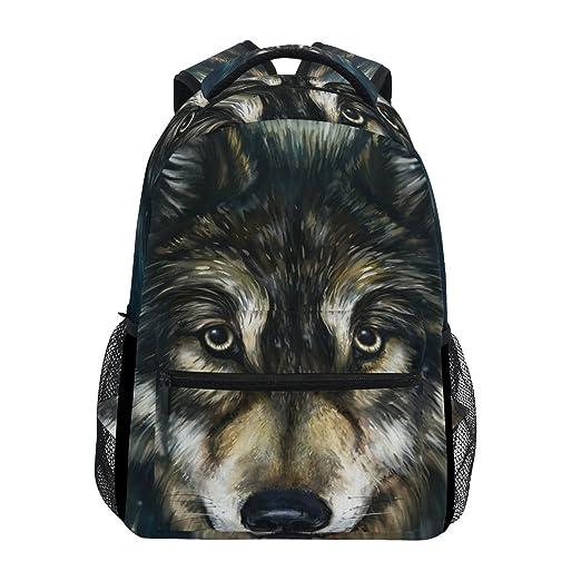 b13da8e4f25 Amazon.com   Backpack Travel Wolf Painting Art School Bookbags ...