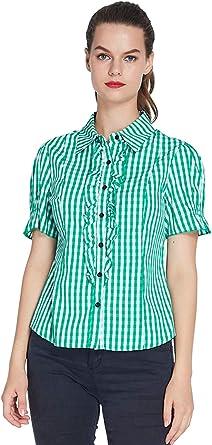 uideazone Blusas de Moda para Mujer Tops Elegantes de Manga Corta - Verde: Amazon.es: Ropa y accesorios