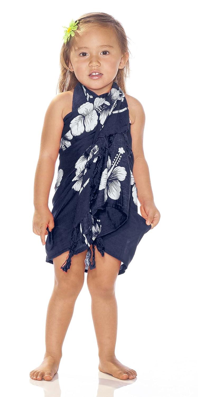 1 World Sarongs Girls Hibiscus Floral Half Sarong in Navy Blue//White /& Matching Hair Scrunchie