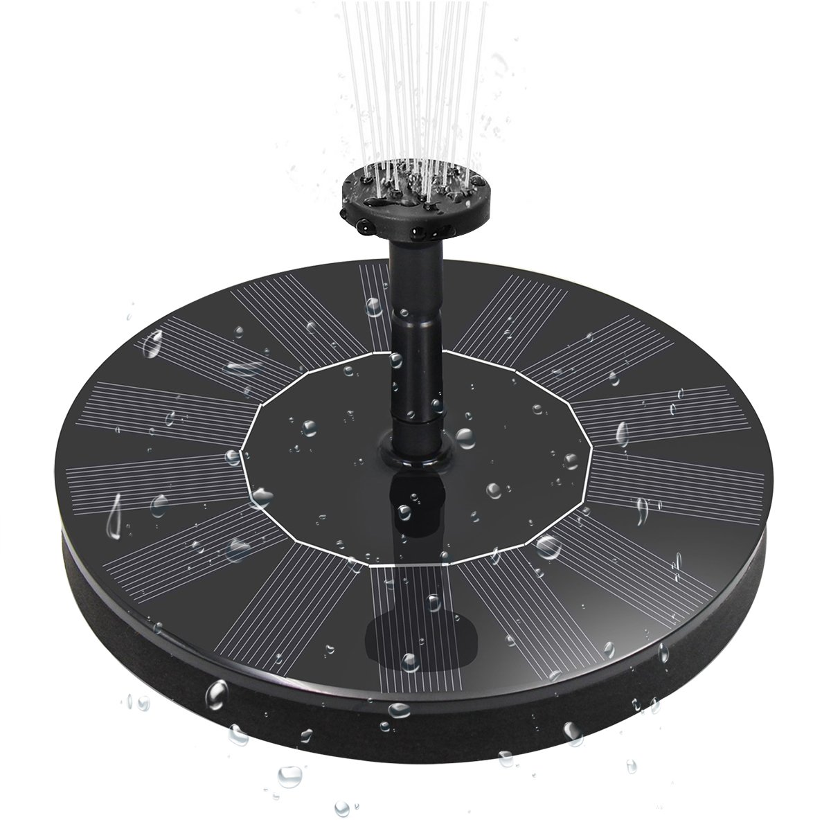 Kaipu Solar Fountain Pump with 4 Spray Heads, 1.4 W Excellent submersible water pump Panel Kit for Garden Birdbath, Pond Swimming Pool, Bird Bath, Small Pond, Garden and Lawn