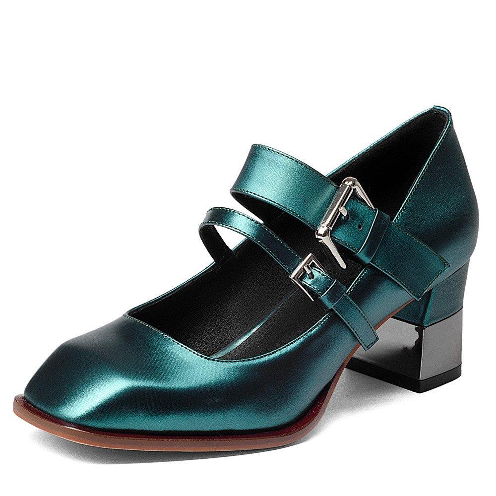 5482af6d6e26f Amazon.com | Nine Seven Women's Retro Mary Jane Block Heels, Strappy ...