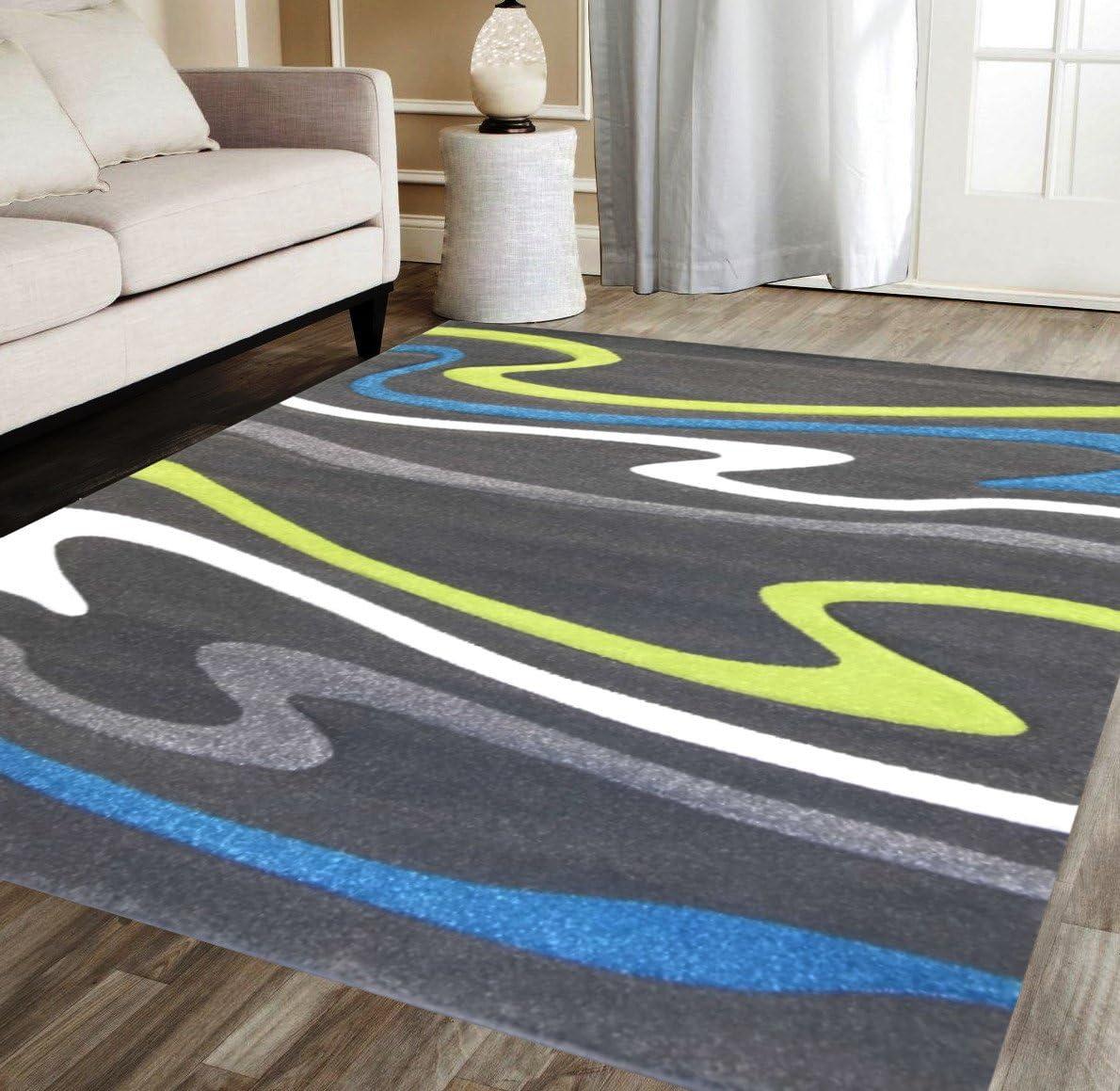Modern Area Rug Design ST 603 Charcoal 8 Feet X 10 Feet 6 Inch