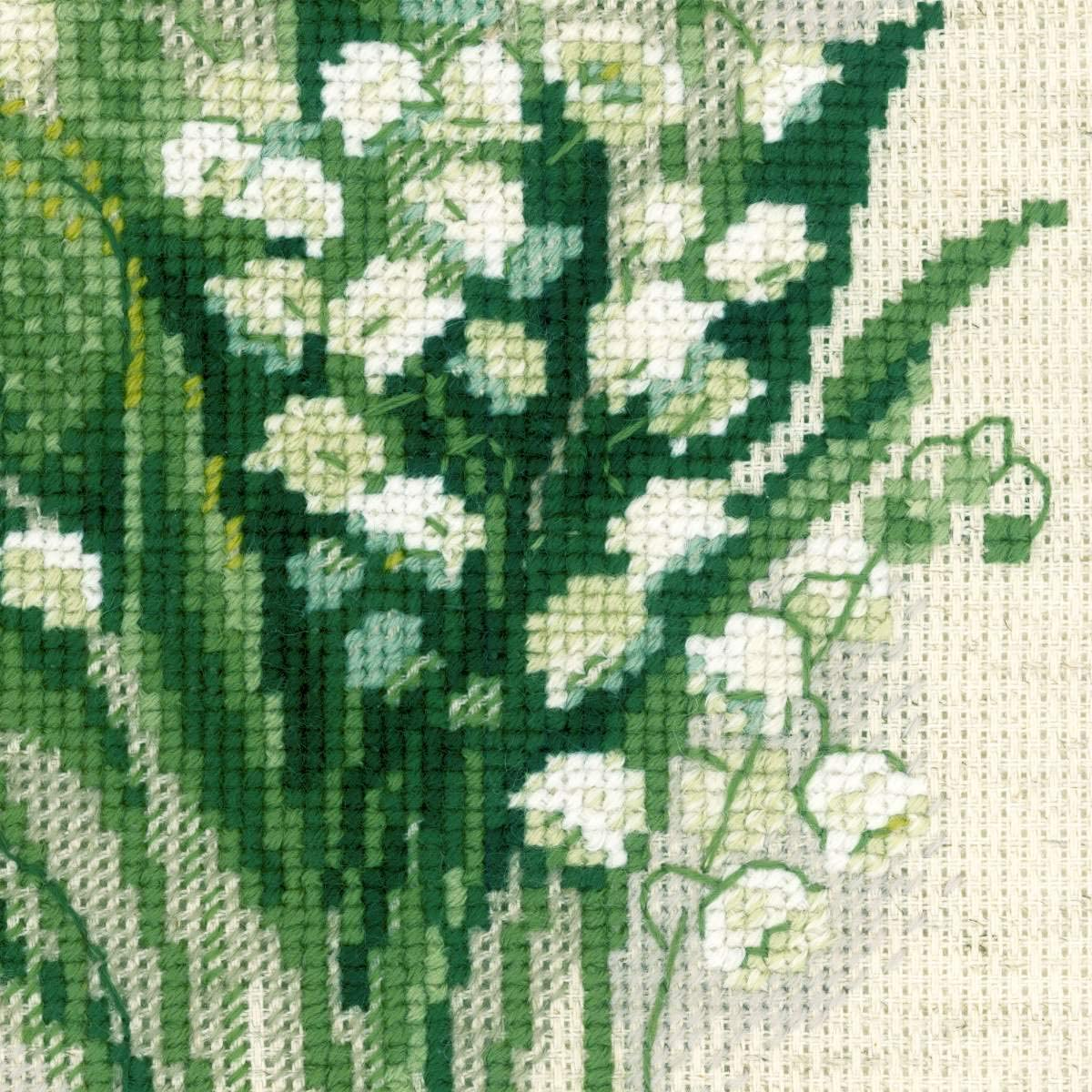 8 x 8 RIOLIS 14 Count Forget Me Nots Counted Cross Stitch Kit