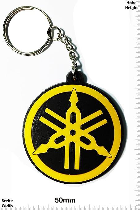 Llaveros - Keychains - Yamaha -round - yellow - Motocross - Motorcycle - Motorbike - Skater - Scooter - Sport - Key Ring - Kautschuk Rrubber Keyring - ...