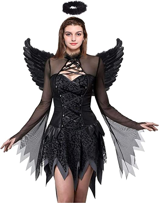Devil Fallen Disfraz de ángel Negro corsé de ángel Disfraz Kit de ...