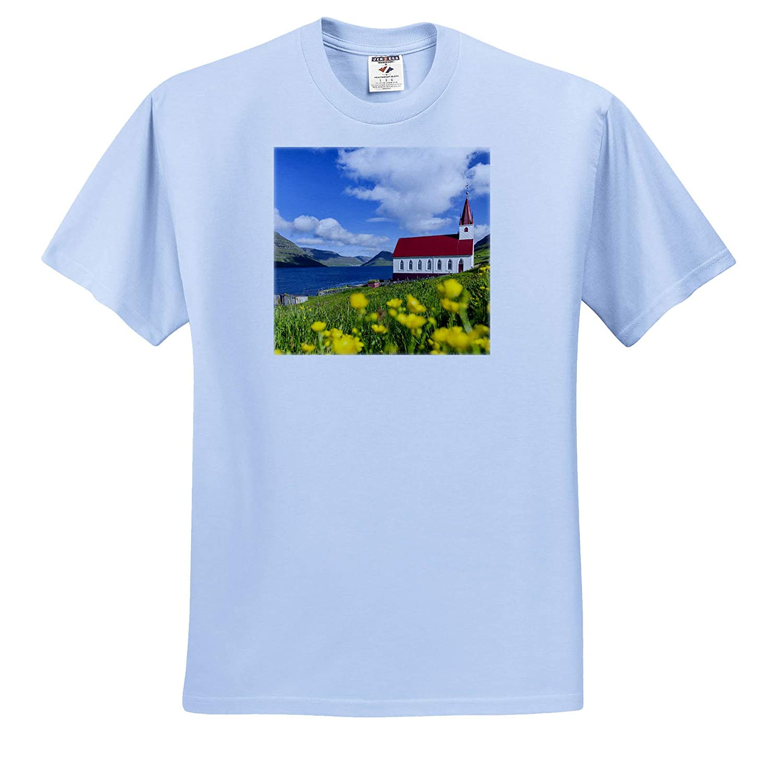 - Adult T-Shirt XL Faroe Islands 3dRose Danita Delimont Denmark Church in Village HUSAr on Kalsoy Denmark ts/_313103